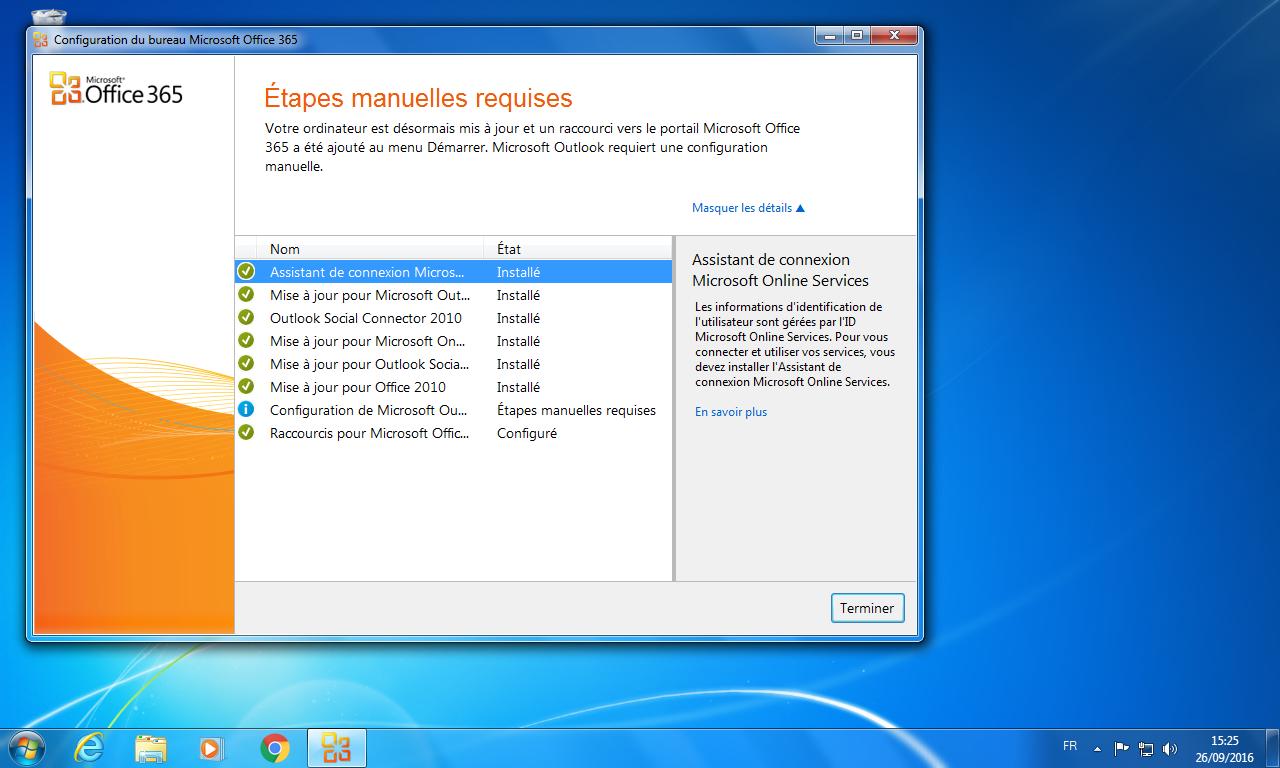 SOPITEC   Installation Bureau Office 365 pour Outlook 2010