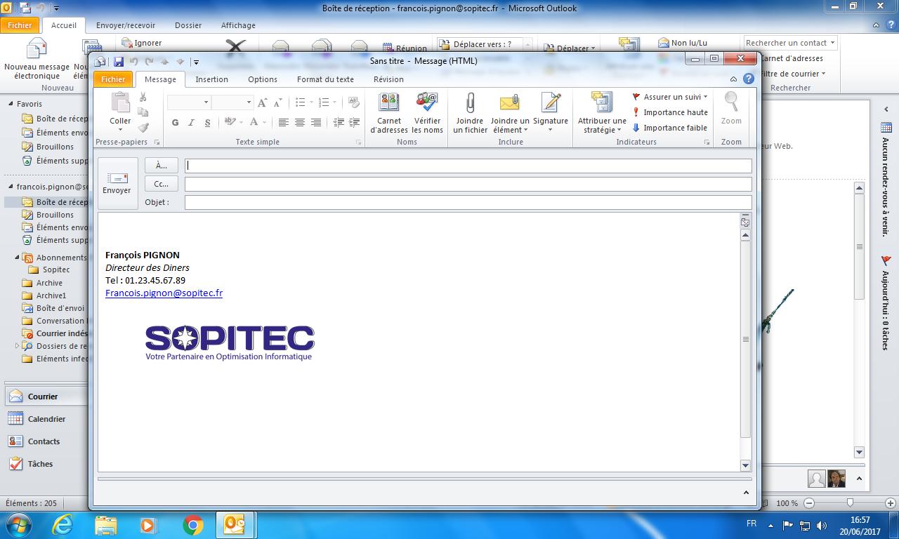 Outlook Modele De Message Sopitec