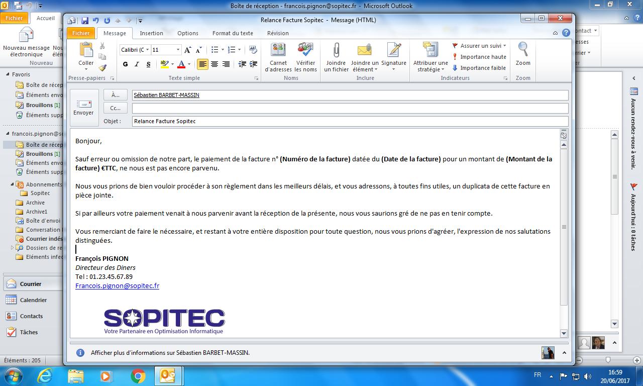 Outlook - Modèle de message - SOPITEC